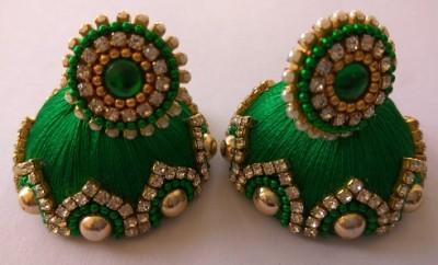 Green Large Silk Jhumka