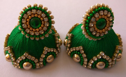 Green Large Silk Jhumka