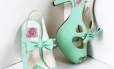 Green leather heart cut out heel