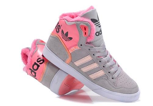 Grey pink women Adidas shoes -4