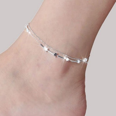 Heart Shape Anklet Chain in Silver