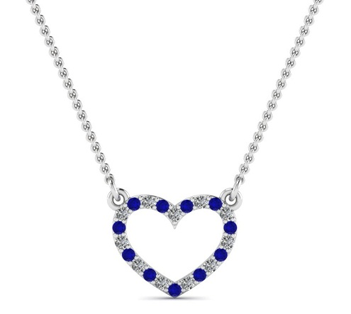Heart pendant with blue sapphire gemstone