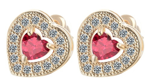 Heart shape solitaire earrings