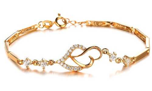 Heart-shaped Gold Platted Bracelet