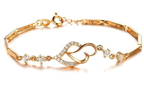 Heart-shaped Gold Platted Bracelet