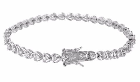 Heart-shaped links Platinum Bracelet for Women