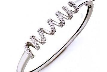 Helical Diamond studded Platinum Bracelet for Women