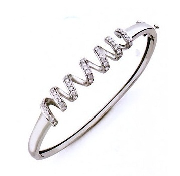 Helical Diamond studded Platinum Bracelet for Women