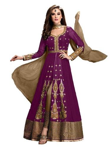 Indian Anarkali Purple Salwar Suit