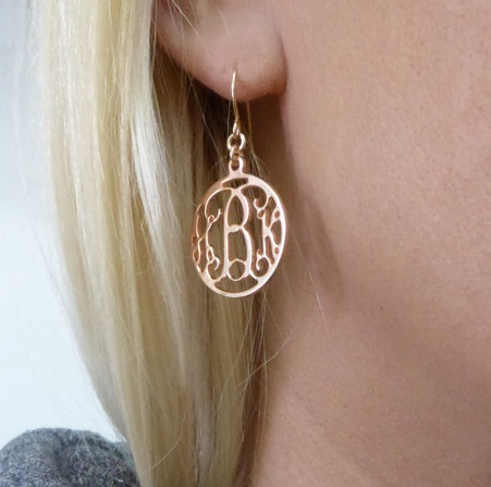 Initial design drop earring