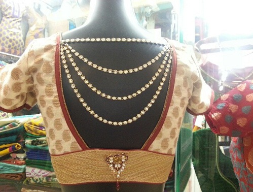 Jewel attatched blouse design -34
