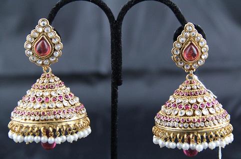 Jhumka type Pink Earring