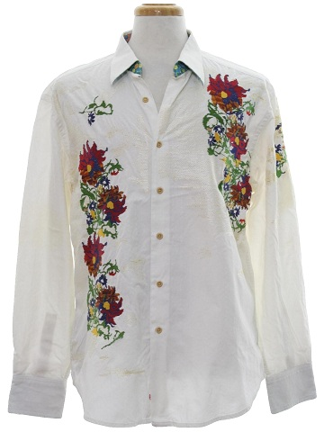Kashmiri work white shirt