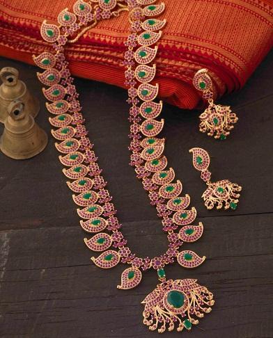 Kemp stone Bharatanatyam Temple Jewellery