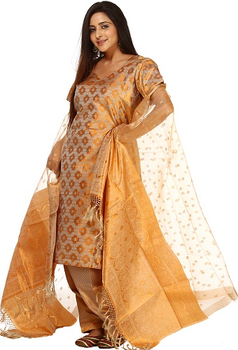Kora Silk Gold Salwar Suit