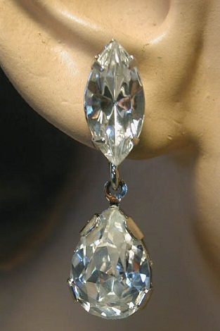 Large diamonds bridal earrings