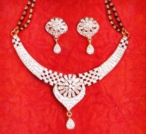 Large pendant American diamond stud mangalsutra