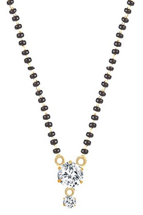 Large single American diamond mangalsutra