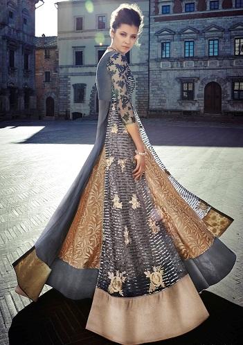 Layered floor length salwar suit