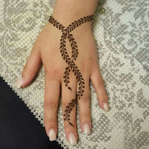 Leaf Print Finger Mehandi Designs