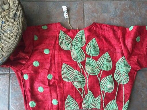 Leaf embroidery high neck Blouse design -7