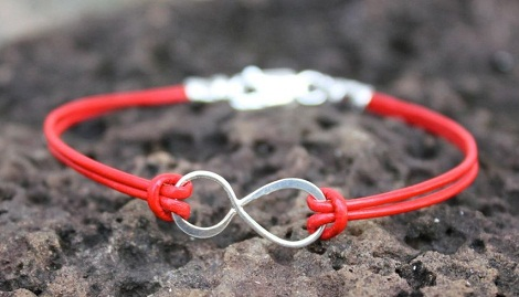 Leather infinity anklet