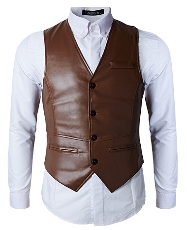 Leather slim fit suit vest