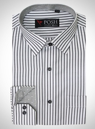 Lining print white shirt