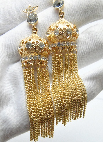 Long dropping chains wedding earrings