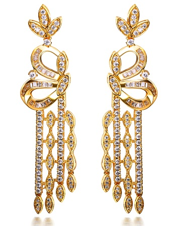 Long gold rhodium plated wedding earrings