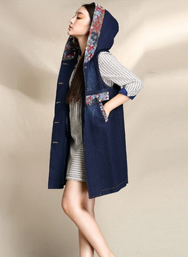 Long hooded vest