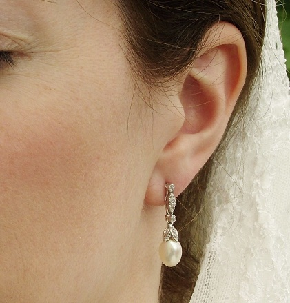 Luxurious fresh water pearl and diamond stud bridal earrings