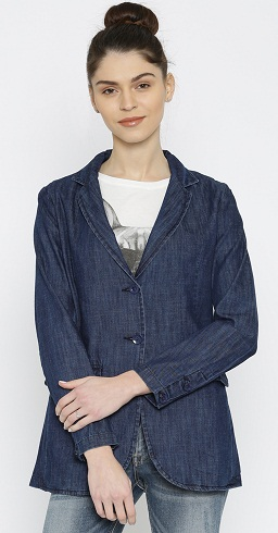 Mast and Harbor Black Single-Breasted Casual Denim Blazer -8