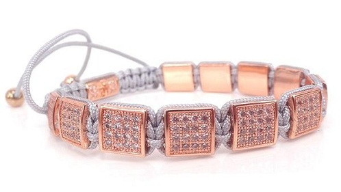 Micro pave Platinum-Rose gold-Diamond Bracelet for Women