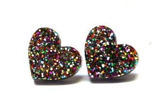 Mix coloured heart earrings