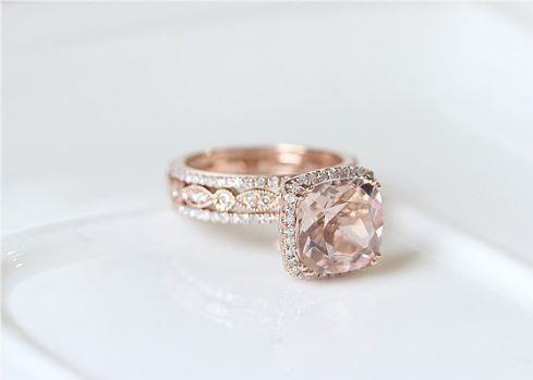 Morganite stone engagement ring