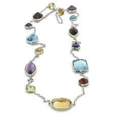 Multi-Shaped Faceted Gemstone White gold necklace