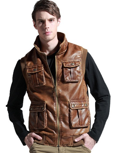 Multi-pocket leather Vest for Men