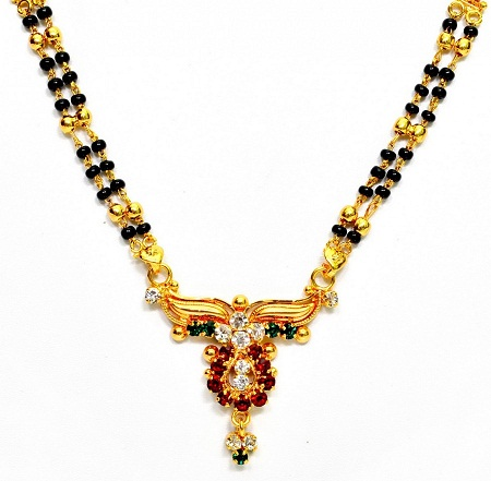 Multi stone locket mangalsutra