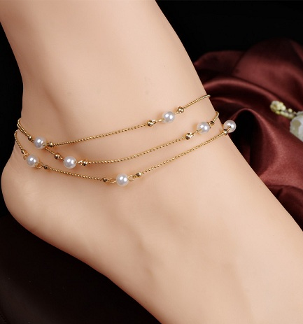 Multilayer Pearl Anklets for Girls