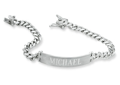 Name engraved Unisex Platinum Bracelet