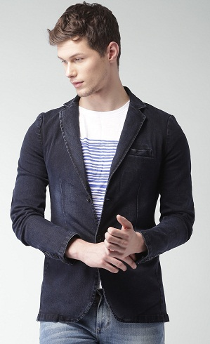 Navy Single-Breasted Casual Denim Blazer -3