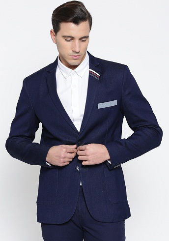 Navy Single-Breasted Structured Fit Denim Casual Blazer-9