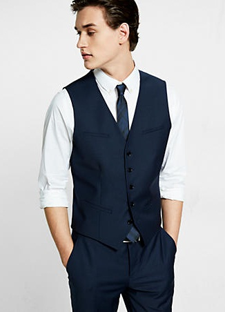 Navy wool blend suit vest