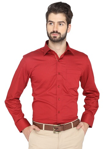 Office Wear Red Shirt