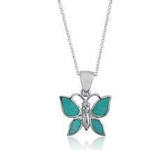 Opal Butterfly Pendant Charm Necklace