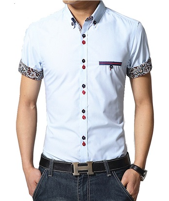 Open Collar Mens Embroidered Shirts