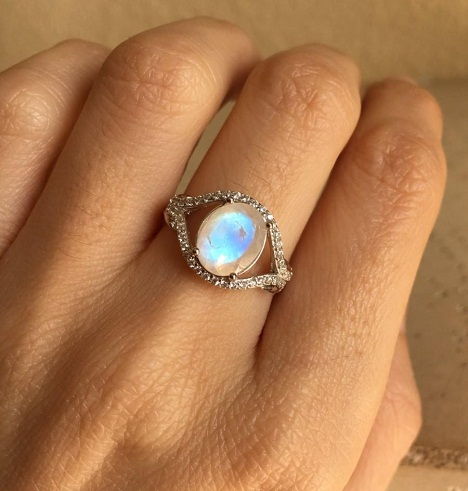 Orange-blue Moonstone ring