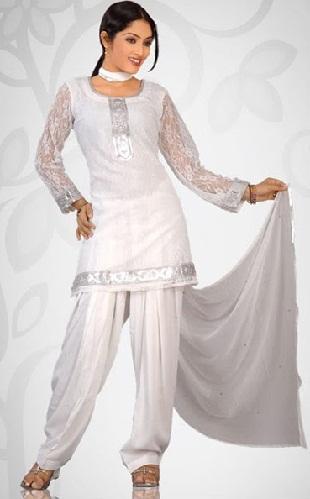Palatial Style Silver Salwar Suit