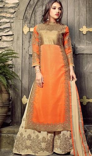 Palazzo Style Orange Salwar Suit9